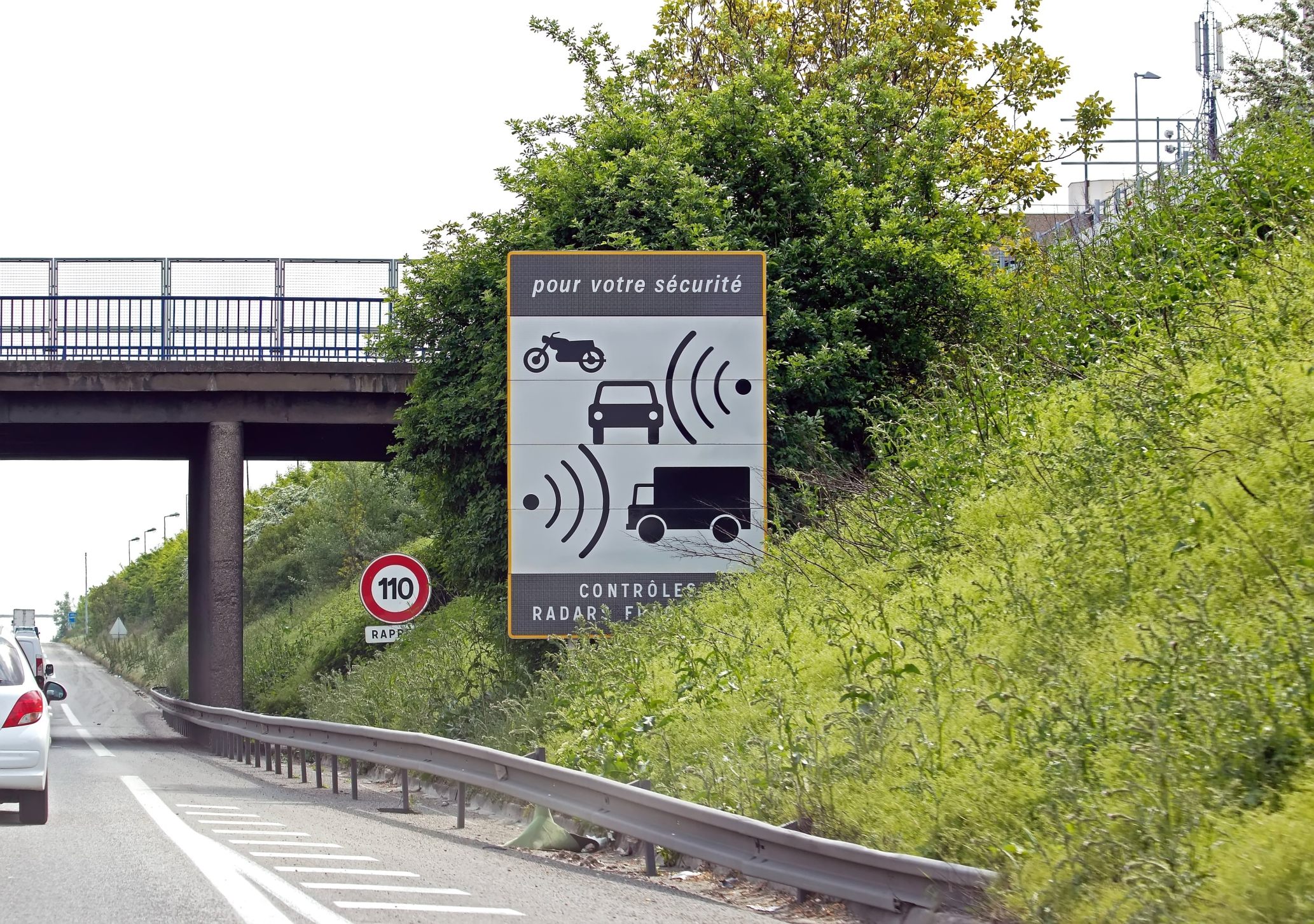 Radar panel on highway in France