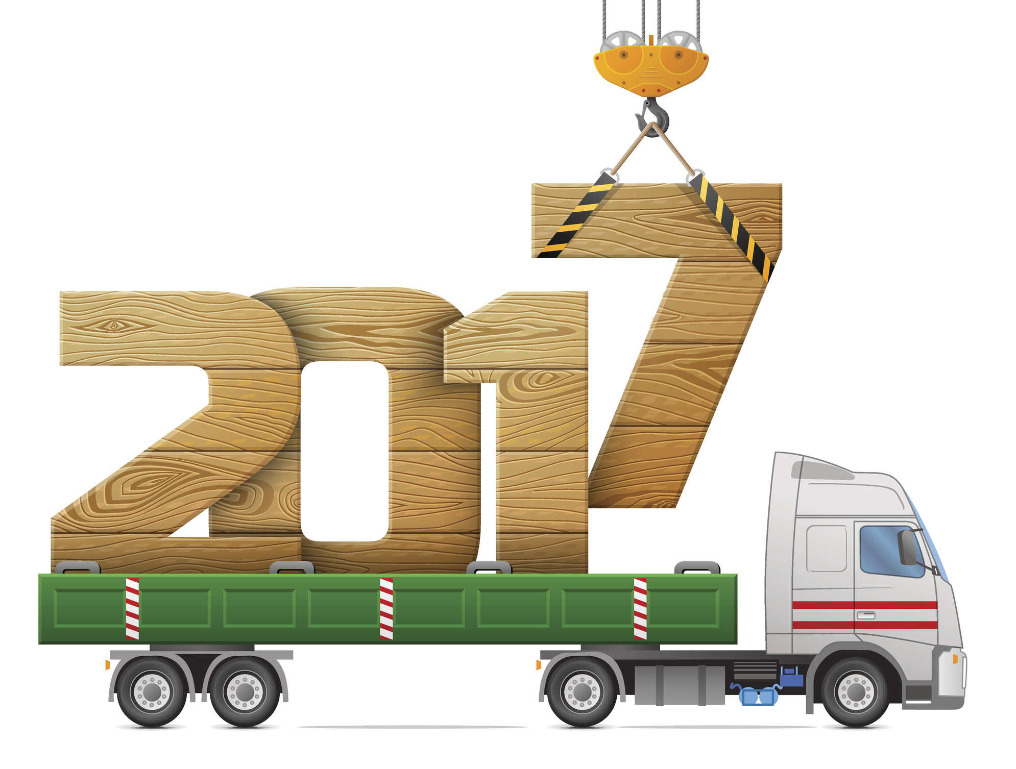 Big wooden year number in back of truck. Vector illustration for new years day, christmas, transportation, winter holiday, new years eve, trucking, silvester, etc